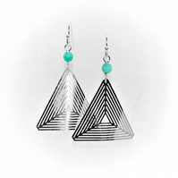 Emerald and triangle earrings, geometric triangle artisan earrings