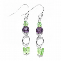 Purple and green crystal butterfly earrings
