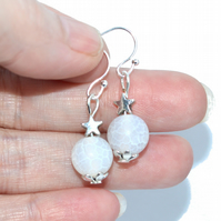 Dainty white agates with star bead earrings