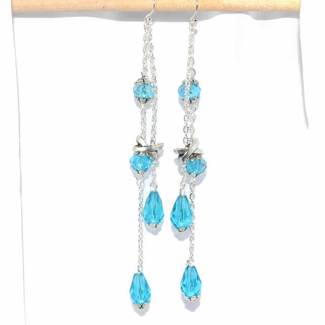 Super long turquoise crystal dangle drop earrings