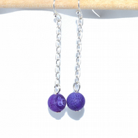 Purple matt agate chain drop earrings