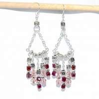Pink and red crystal chandelier earrings