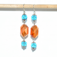 Long orange and turquoise Art Deco crystal earrings