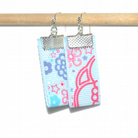 Light Blue ribbon floral earrings, simple fashion earrings