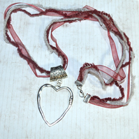 Large love heart necklace, red and grey ribbon necklace