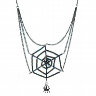 Spider web seed beaded necklace