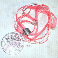 Large Tree of Life symbol, pink ribbon necklace