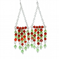 Red and green crystal chandelier earrings