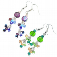 Crystal cluster glass earrings, you get both Summer and Winter colours