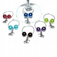 Pack of 6 Monkey wine glass charms, party table decoration