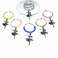 Pack of 6 Dancer wine glass charms, party table decoration