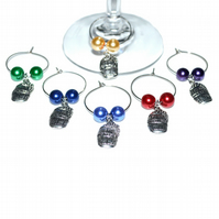 Pack of 6 wine barrel glass charms, party table decoration