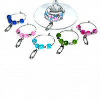 Pack of 6 baby shower wine glass charms, nappy pink wine charms