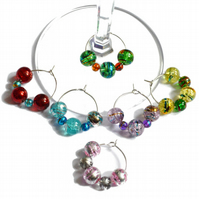 Pack of 6 crackle wine glass charms, party wine charms