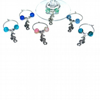 Pack of 6 seahorse wine glass charms, beach party wine charms