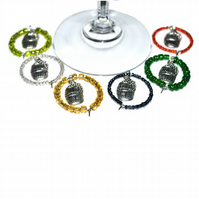 Pack of 6 wine barrel glass charms, party wine charms