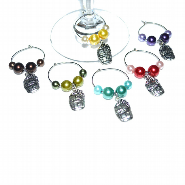 Pack of 6 pearl wine glass charms, party wine charms