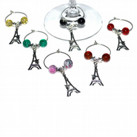Pack of 6 Eiffel wine glass charms, party wine charms