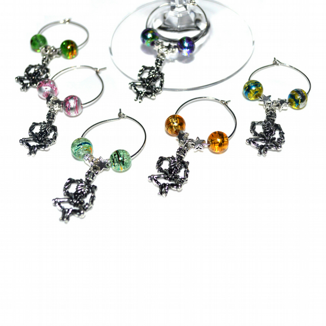 Pack of 6 skeleton wine glass charms, Halloween party wine charms