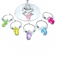 Pack of 6 pacifier wine glass charms, baby shower table decoration