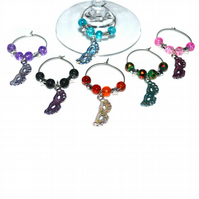 Pack of 6 mask wine glass charms, masquerade party wine charms