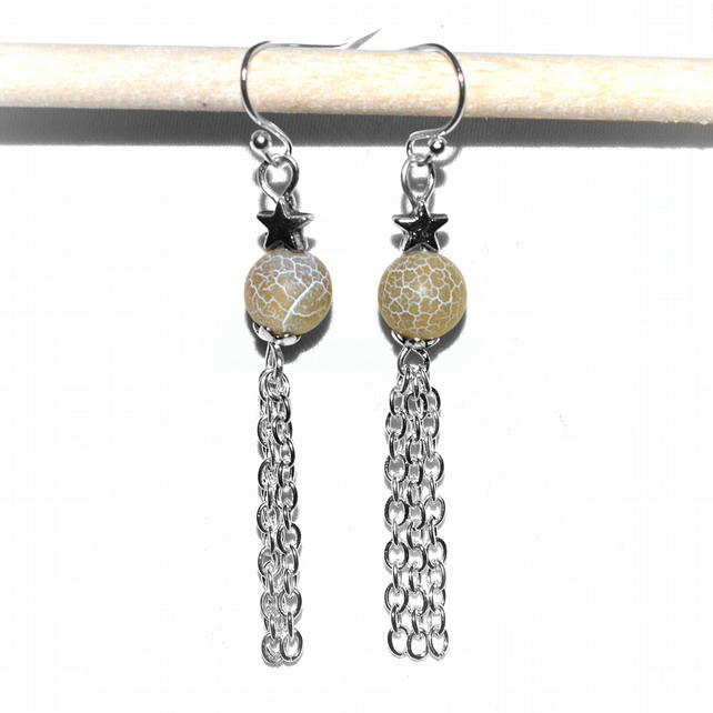 Yellow agate earrings with stars and chain tassels