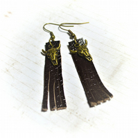 Leather and bronze cow skull earrings, cowgirl earrings