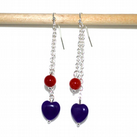 Amethyst heart and Carnelian earrings, February birthstone earrings