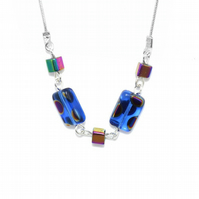 Cobalt blue Czech cathedral glass necklace