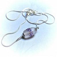 Lilac blossom frosted lampwork glass necklace