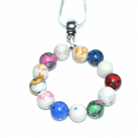 Rainbow dyed Howlite gemstone hoop necklace
