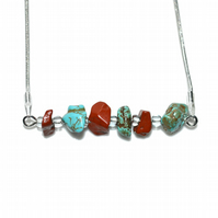 Red Jasper and Turquoise necklace
