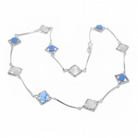 Blue and white cube shimmer necklace
