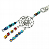 Rainbow crystal cube dreamcatcher necklace