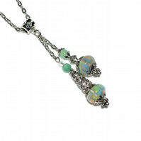 Seabreeze lampwork pendant pendulum necklace