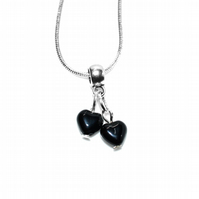 Black Onyx heart pendant choker length necklace