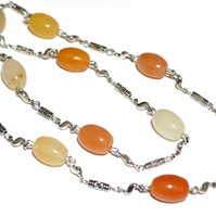 Citrus shades of Jade beaded chain necklace