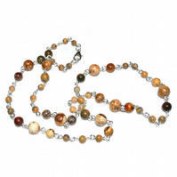 Natural Picture Jasper beaded chain necklace