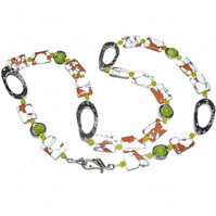 Tiger Turquoise and Peridot beaded chain necklace