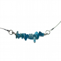 Raw Apatite chip swing pendant gemstone necklace