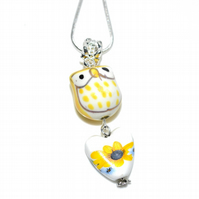 Yellow ceramic owl and Sunflower heart pendant necklace