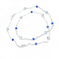 Dainty Sapphire and Swarovski crystal beaded chain necklace
