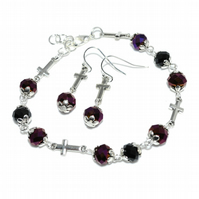 CLEARANCE SALE - Purple crystal and cross bracelet set