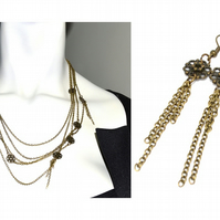 Five strand bronze floral tassel necklace and earrings set