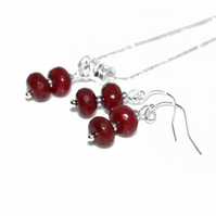 Ruby necklace and earrings set, July birthstone 40th Anniversary gift