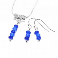 Sapphire necklace and earrings set, September birthstone Anniversary gift