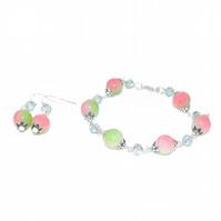 Apple green and pink glass  and crystal jewellery set
