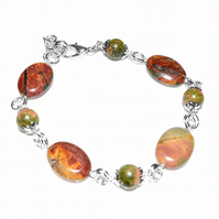 Unakite and Jasper natural gemstone bracelet