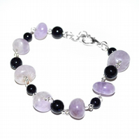 Amethyst and Goldstone bracelet, February birthstone gift idea