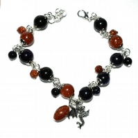 Goldstone dragon bracelet